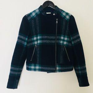 GAP navy plaid wool moto jacket